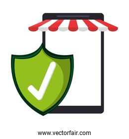 smartphone online store with certified badge