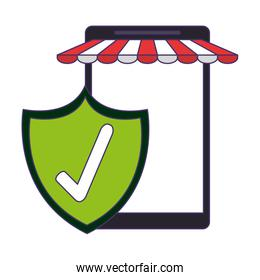 smartphone online store with certified badge blue lines