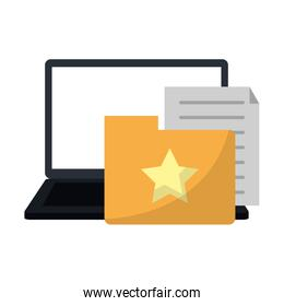 Laptop with folder and documents