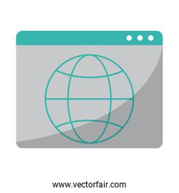 website with global sphere symbol