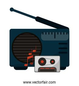 old radio stereo with cassette