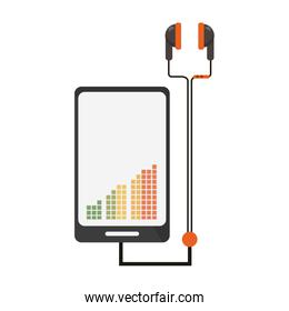 Smartphone with music and earphones