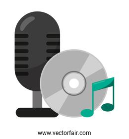 vintage microphone and music cd rom