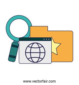 Folder with website and magnifying glass