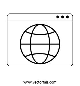 website with global sphere symbol in black and white