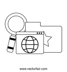 Folder with website and magnifying glass in black and white