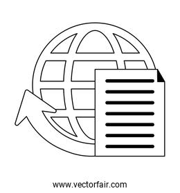 document global sphere symbol in black and white