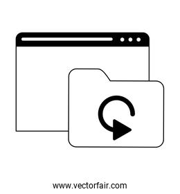 website with folder technology in black and white
