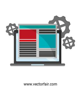 Laptop with website and gears