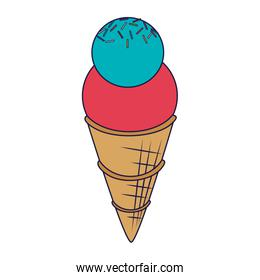 ice cream cone with two scoops blue lines