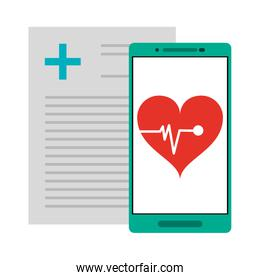 medical report and smartphone with heartbeat app