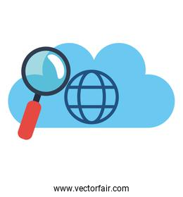 cloud computing and magnifying glass
