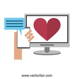 relationship chat with computer and smartphone