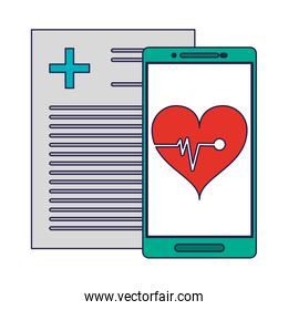 medical report and smartphone with heartbeat app blue lines