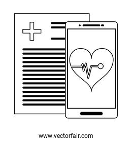 medical report and smartphone with heartbeat app black and white