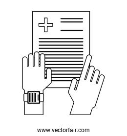 doctor hands checking medical report black and white