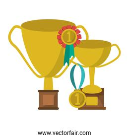 trophy cup with medals symbol