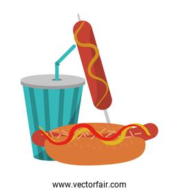 hot dog sausage and soda cup