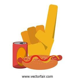sport flang glove with soda and hot dog