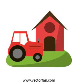 Farm house and tractor