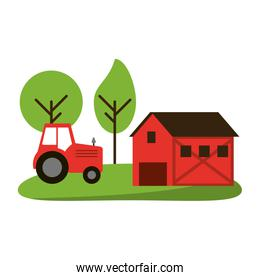 farm house and tractor in nature