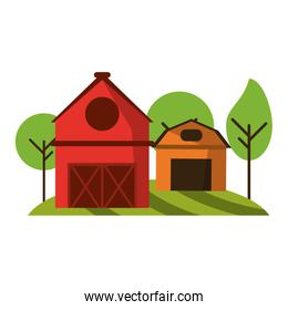 farm house and barn in nature