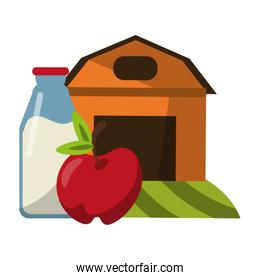 farm house with apple and milk bottle