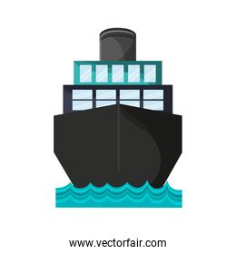 freighter ship with container in the sea over white