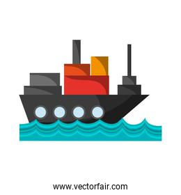 freighter ship with container in the sea