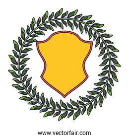Badge emblem with wreath leaves