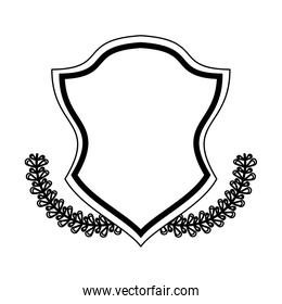 Badge emblem with wreath leaves black and white