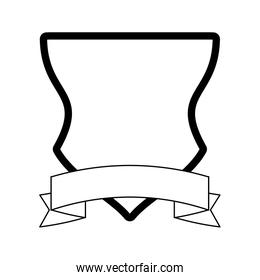 Badge emblem with ribbon banner black and white