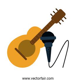 Acoustic guitar and microphone cartoon