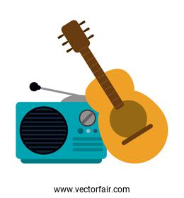 Acoustic guitar and old radio