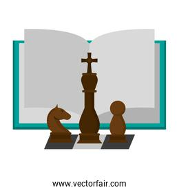 Book open with chess pieces