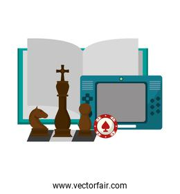 Book open with portable videogame and chess pieces