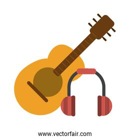 Acoustic guitar and music headphones