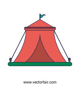 Circus festival tent with flag