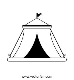 Circus festival tent with flag in black and white