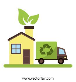 Eco house and recycle truck