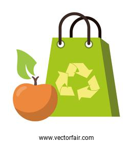 recycle bag with orange fruit