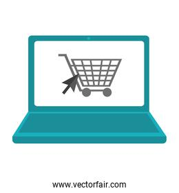 shopping online laptop and cart symbol
