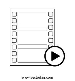 video player reel and button symbol in black and white