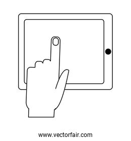 finger touching tablet in black and white