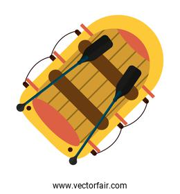Boat with oars cartoon topview