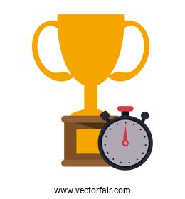 trophy cup and timer symbol