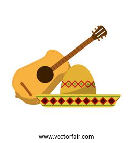 isolated acoustic guitar and mexican hat