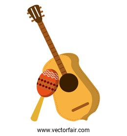 acoustic guitar and maraca mexican instrument
