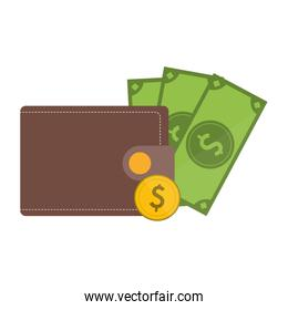 wallet with coin and cash