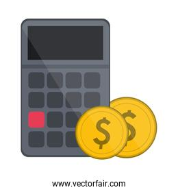 calculator with coins symbol